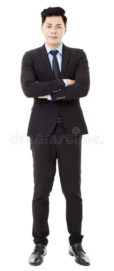 zakenman die zich op wit bevinden en wordt geïsoleerd stock foto's