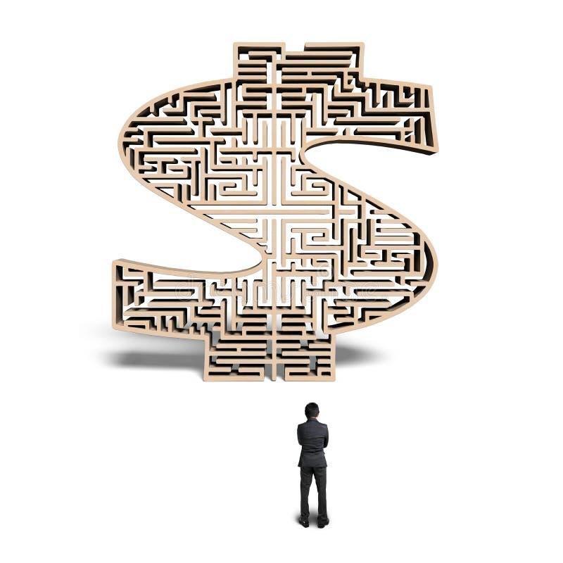 Zakenman die zich voor 3d houten labyrint van de geldvorm bevinden stock illustratie