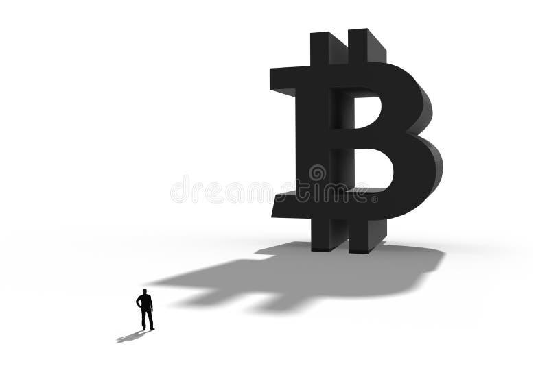 Zakenman die zich voor een reuzebitcoin-symbool bevinden Internet-betaling, financi?n en bedrijfsconcept stock foto's