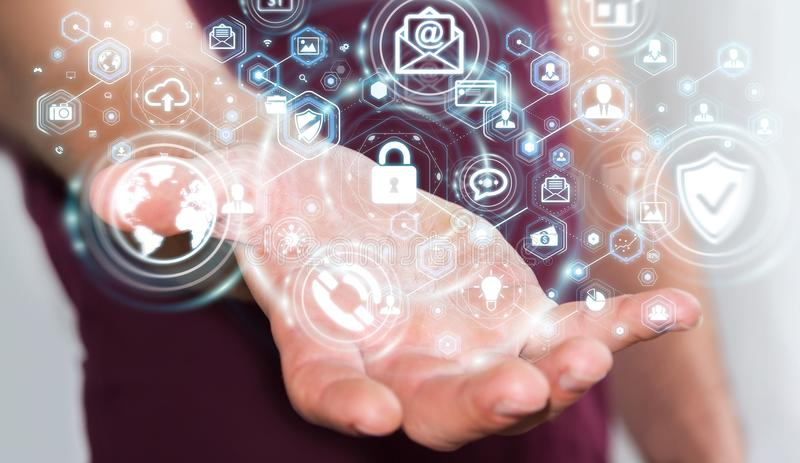Zakenman die zijn 3D renderin van de gegevens persoonlijke informatie beschermen vector illustratie
