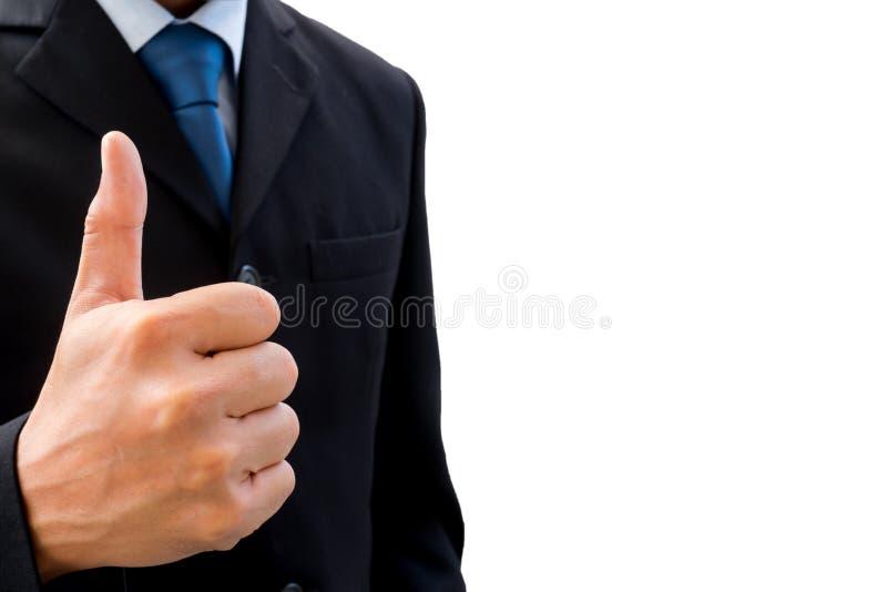Zakenman die zijn duim omhoog opheffen royalty-vrije stock foto