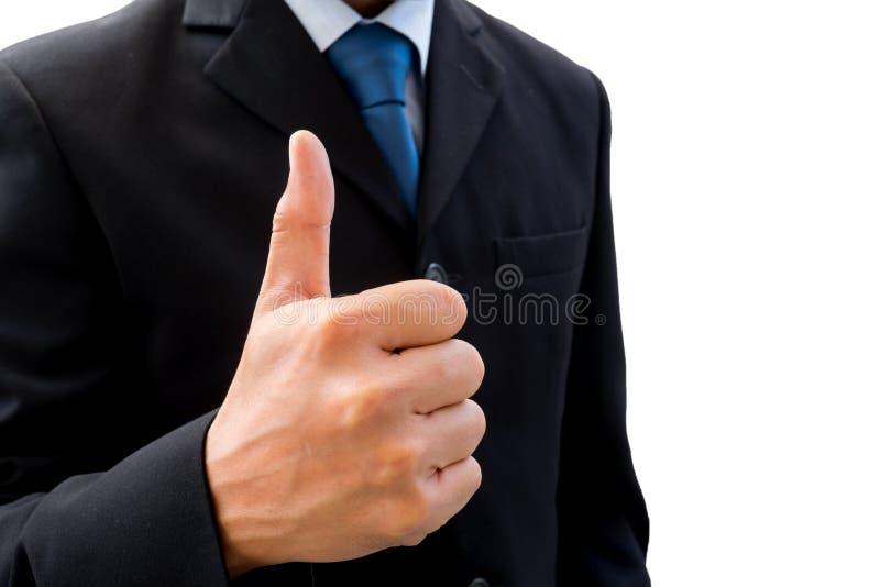 Zakenman die zijn duim omhoog opheffen stock afbeeldingen