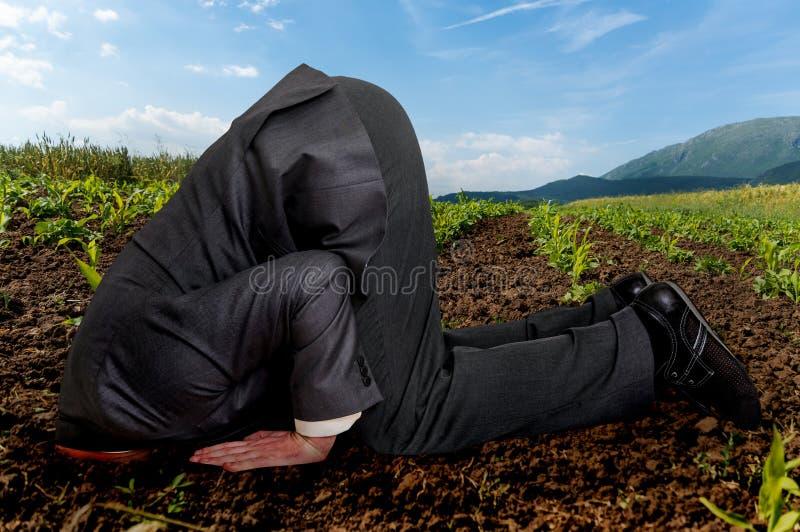 Zakenman die zijn hoofd in de grond begraven royalty-vrije stock afbeeldingen