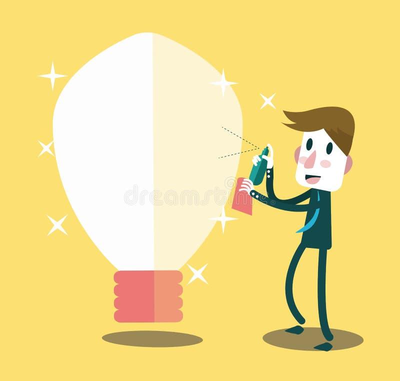 Download Zakenman Die Zijn Ideeën Schoonmaken Vector Illustratie - Illustratie bestaande uit efficiënt, creatief: 39115740