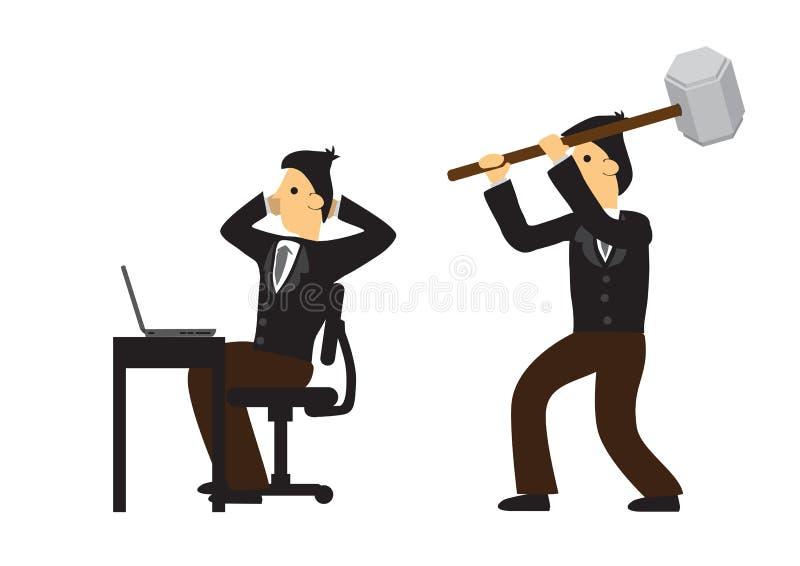 Zakenman die zijn medewerker in zijn bureau proberen aan te vallen royalty-vrije illustratie