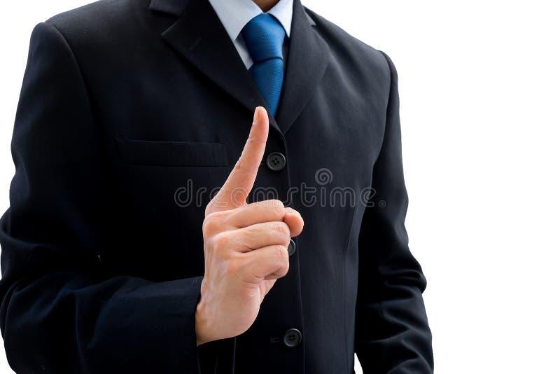 Zakenman die zijn vinger van succes opheffen stock afbeeldingen