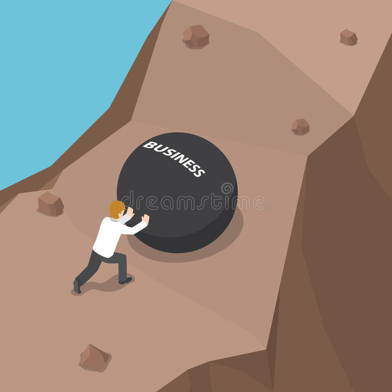Zakenman die zware bal met bedrijfswoord duwen aan helling stock illustratie