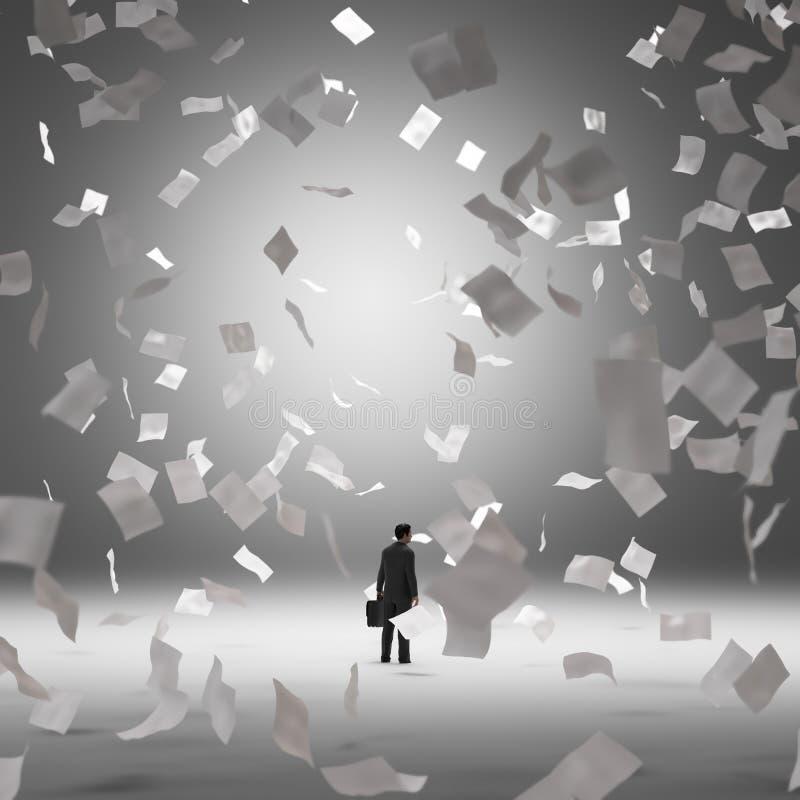 Zakenman door vliegende documenten wordt omringd dat vector illustratie
