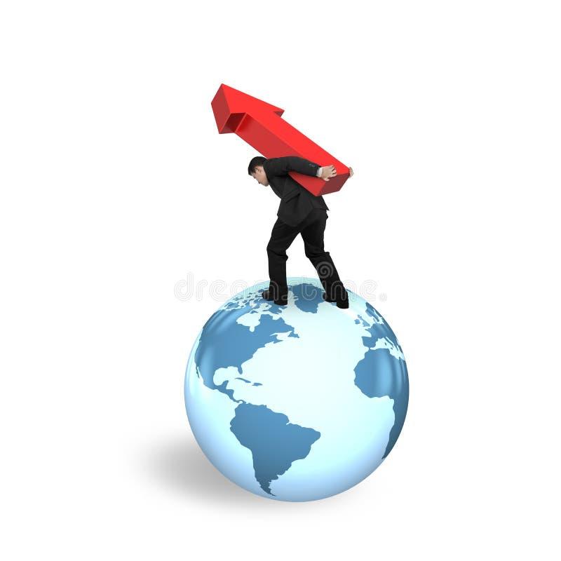 Zakenman dragende pijl die op de kaart van de bolwereld opstaan royalty-vrije illustratie