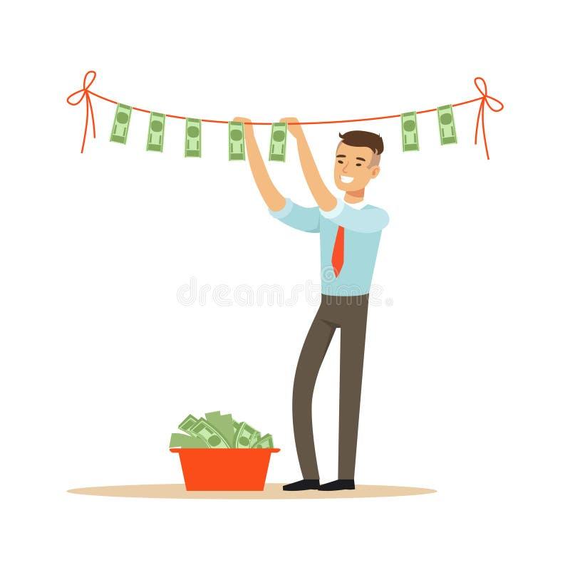 Zakenman drogende bankbiljetten op de drooglijn, onwettige witwassen van geld vectorillustratie royalty-vrije illustratie