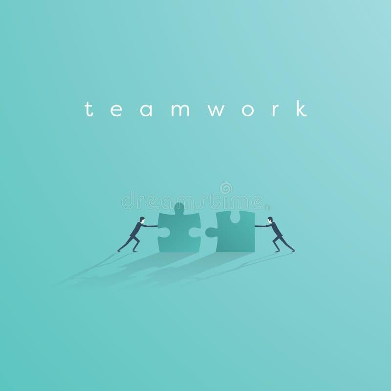 Zakenman duwende puzzel om het te voltooien Het vectorsymbool van het bedrijfsgroepswerkconcept Idee van samenwerking en stock illustratie