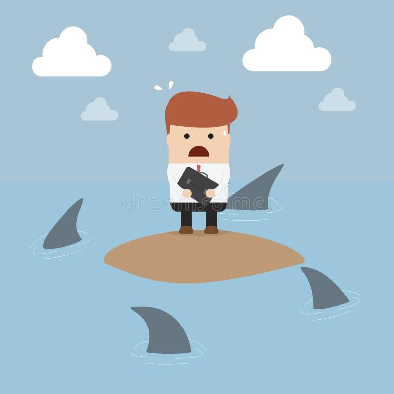 Zakenman in een eiland is door haaien wordt omringd vastgelopen die stock illustratie