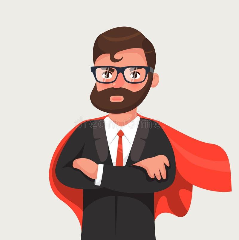 Zakenman in een rode mantel Vectorillustratie in een vlakke stijl royalty-vrije illustratie