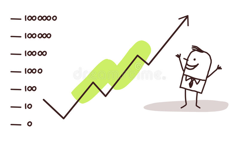 Zakenman & effectenbeurssucces vector illustratie