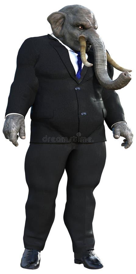 Zakenman Elephant, Bedrijfs Geïsoleerde Mensen, stock afbeelding