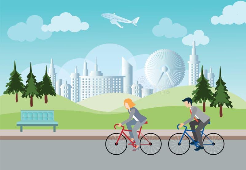 Zakenman en bedrijfsvrouw die door fiets gaan werken vector illustratie