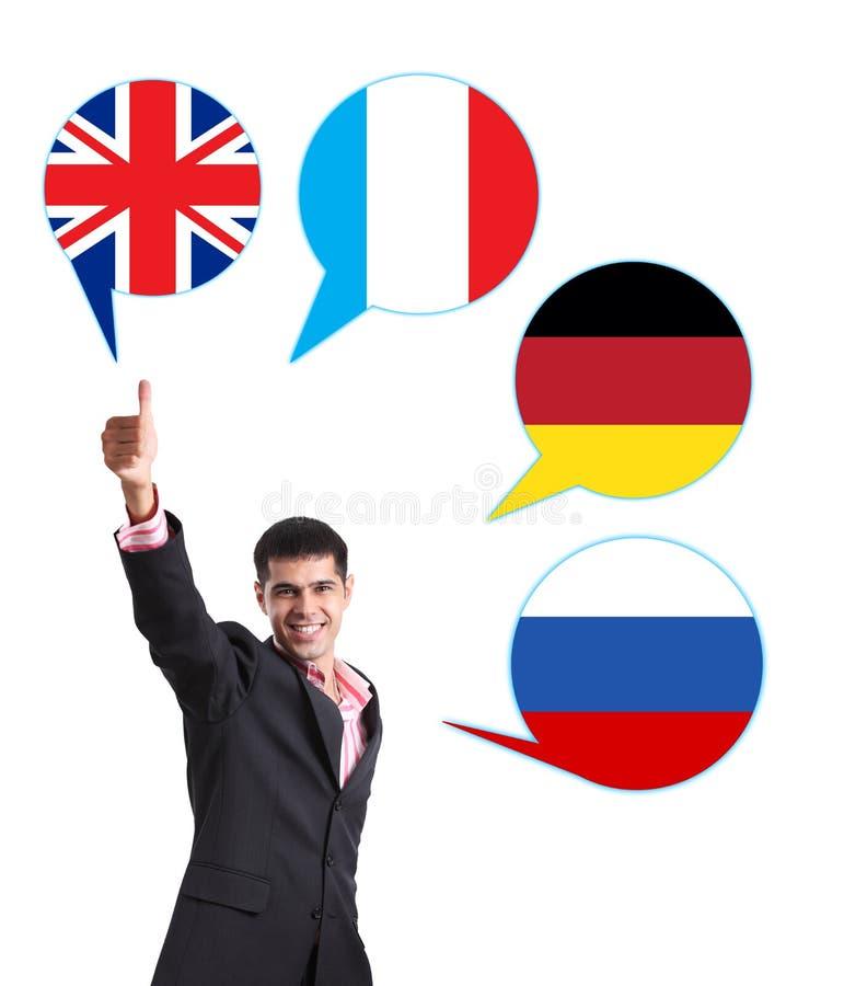 Zakenman en bellen met de vlaggen van landen stock foto