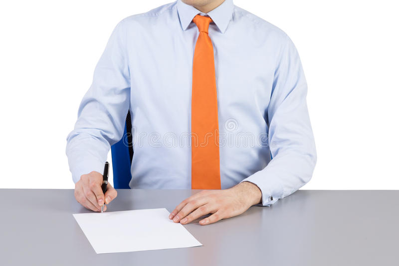 Zakenman en contract die proces ondertekenen royalty-vrije stock afbeeldingen