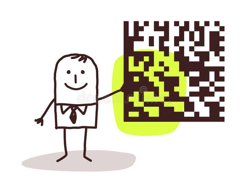 Zakenman en cryptogram royalty-vrije illustratie