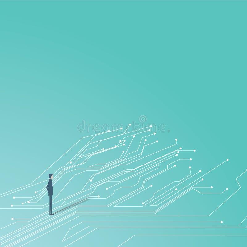 Zakenman en de gedrukte lijnen die van de kringsraad ter plaatse lopen Symbool van technologie en zaken vector illustratie