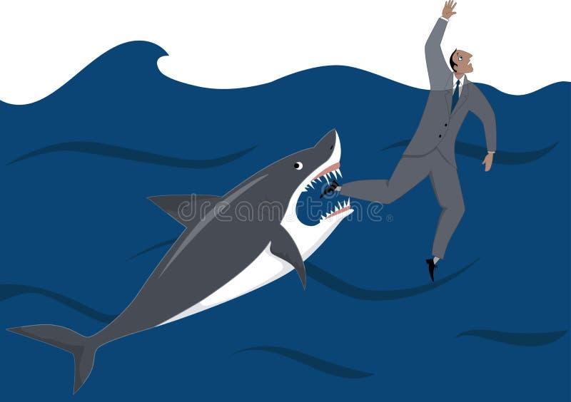 Zakenman en haai royalty-vrije illustratie
