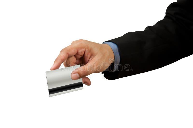 Zakenman en hand met creditcardswipe stock foto