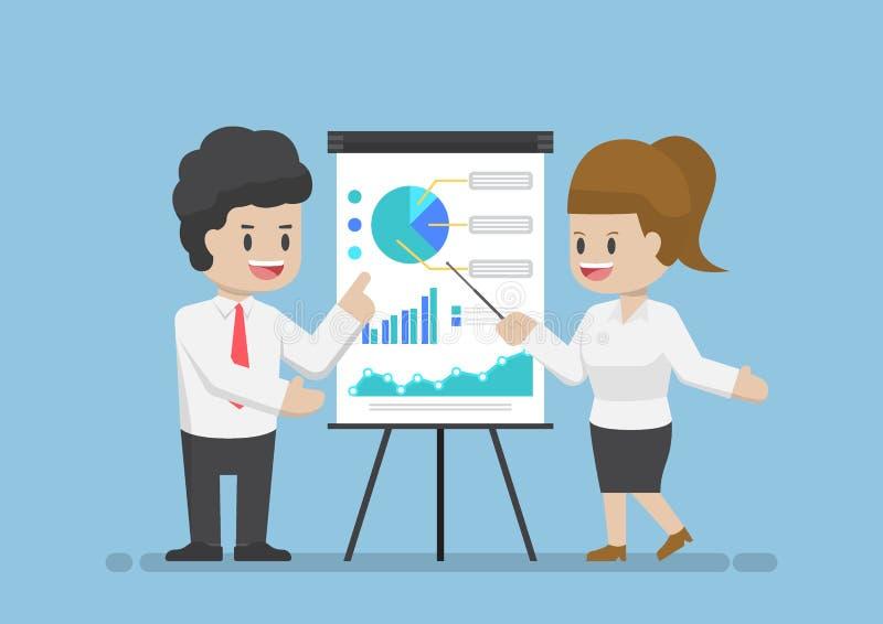 Zakenman en Onderneemster Analyzing Business Graph samen royalty-vrije illustratie