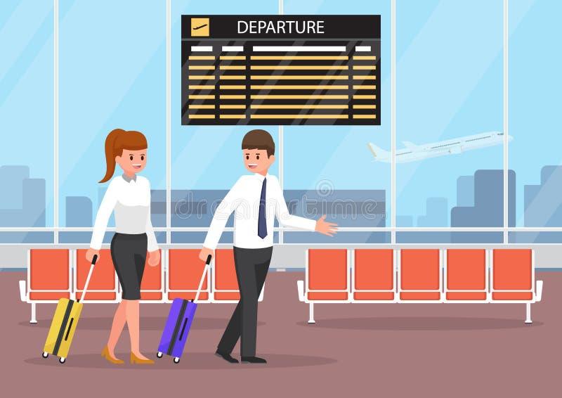 Zakenman en onderneemster met bagage bij luchthaventermin stock illustratie