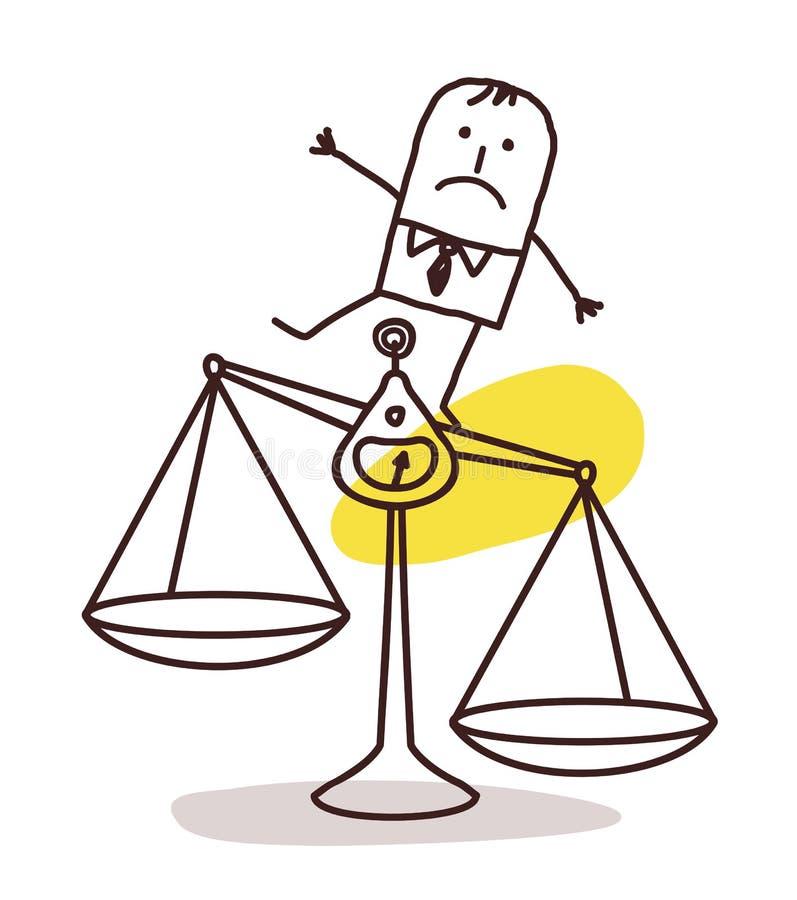 Zakenman en onevenwichtigheid stock illustratie