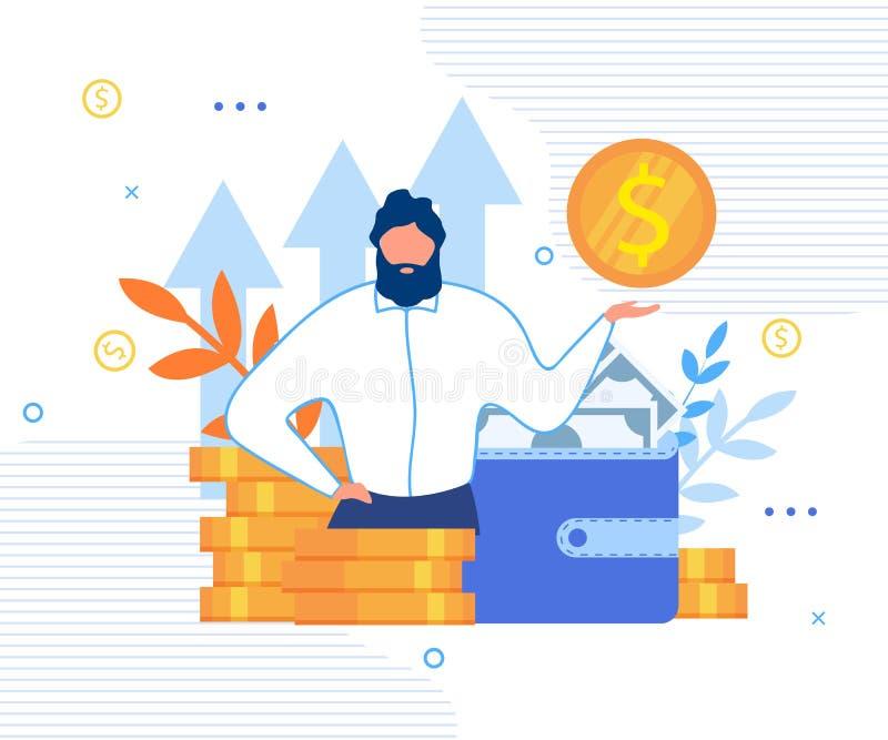 Zakenman en Persoonlijk Financieel Doelbeeldverhaal vector illustratie