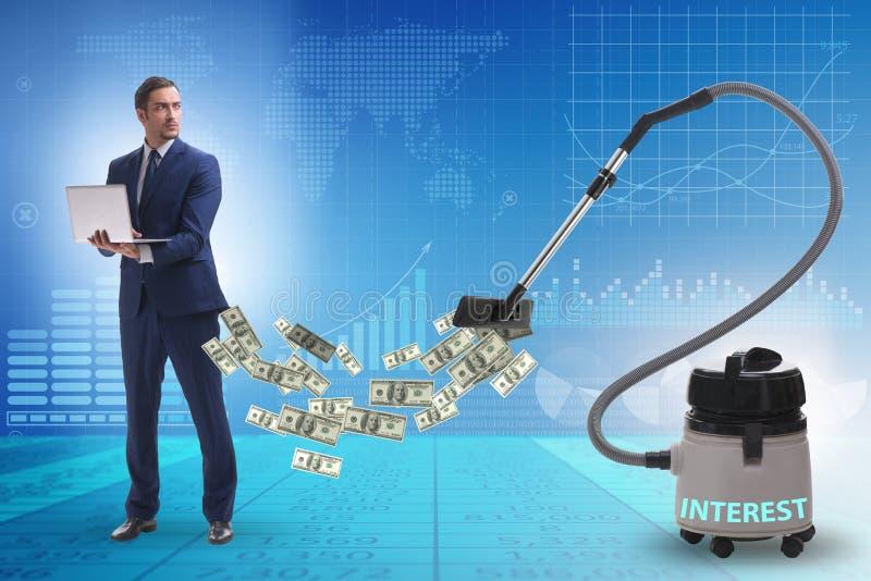 Zakenman en stofzuiger zuigend geld uit hem royalty-vrije stock afbeelding