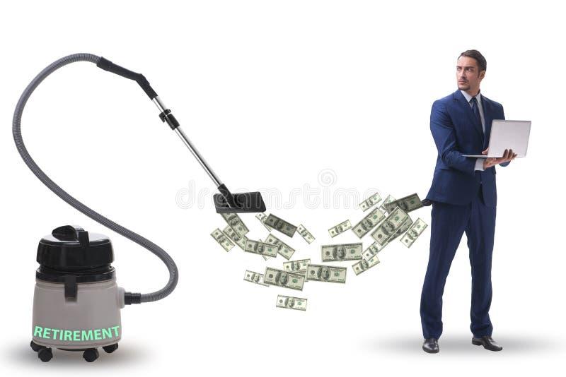 Zakenman en stofzuiger zuigend geld uit hem stock foto