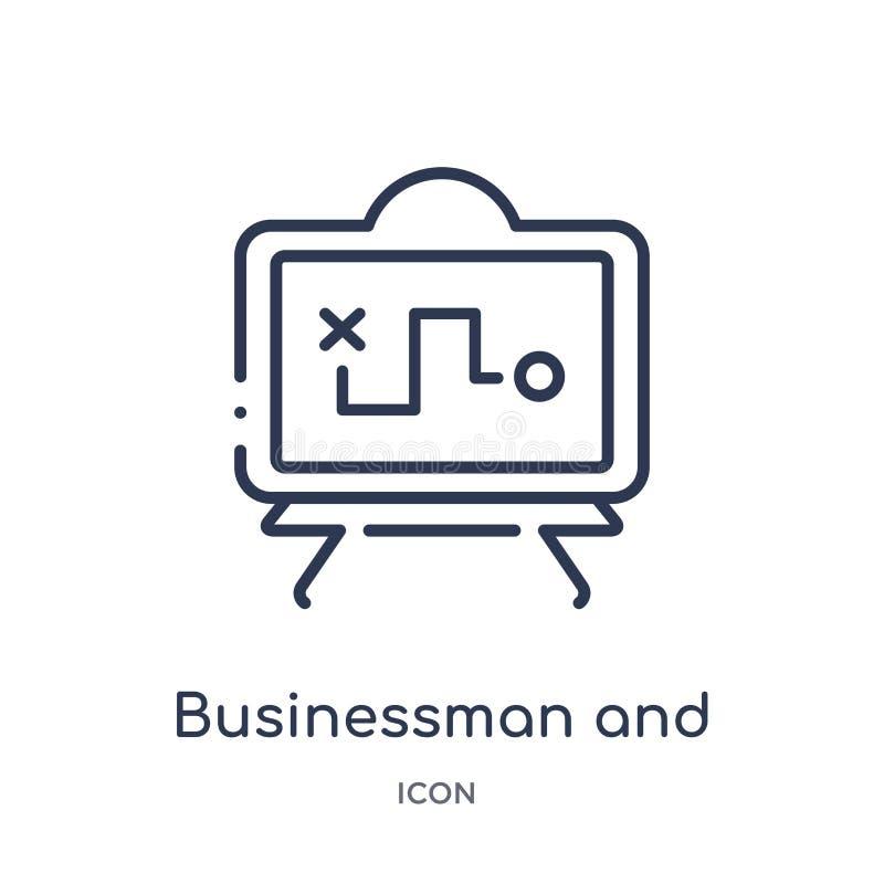 zakenman en tactiekpictogram van de inzameling van het productiviteitsoverzicht Dun lijnzakenman en tactiekpictogram dat op wit w stock illustratie