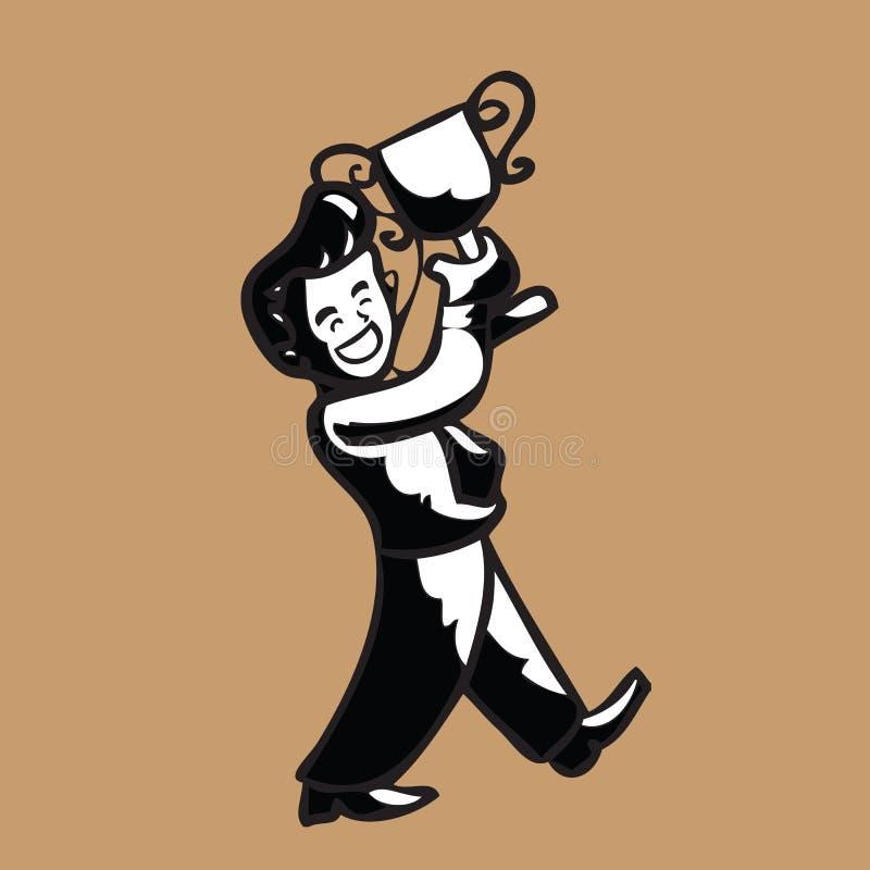 Zakenman en trofee vector illustratie