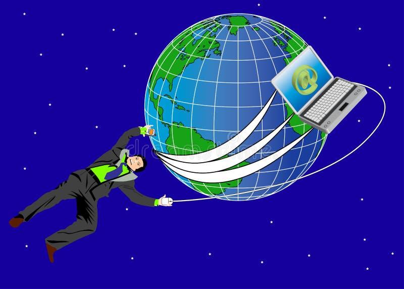 Zakenman en wereld stock afbeelding