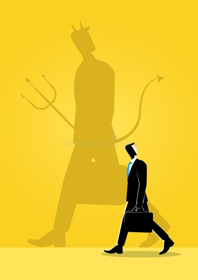 Zakenman en zijn kwade schaduw royalty-vrije illustratie