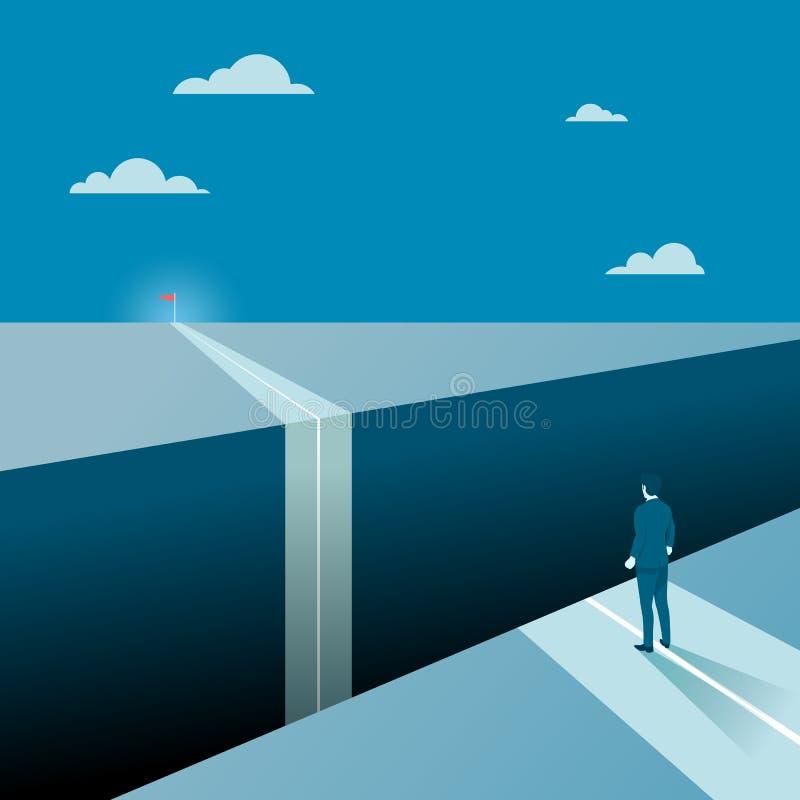 Zakenman Facing Groot Gap van Zijn Doeldoel stock illustratie