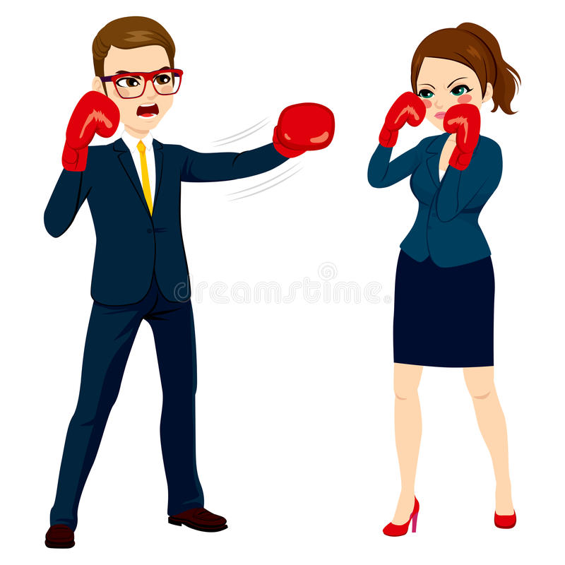 Zakenman Fighting Against Businesswoman vector illustratie