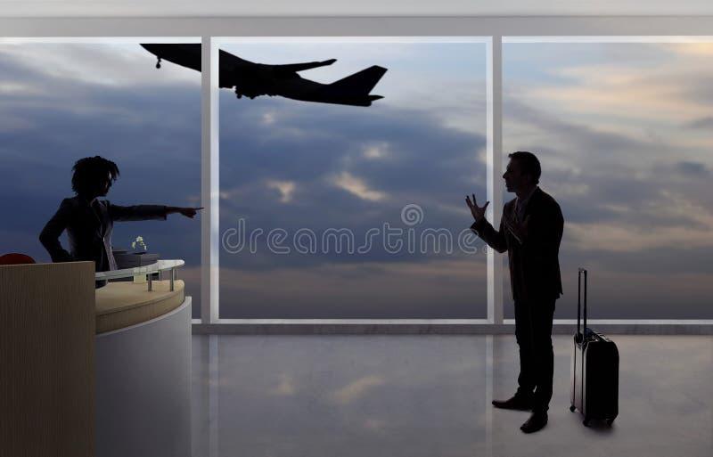 Zakenman Fighting met Steward of Receptionnist bij de Luchthaven royalty-vrije stock afbeeldingen