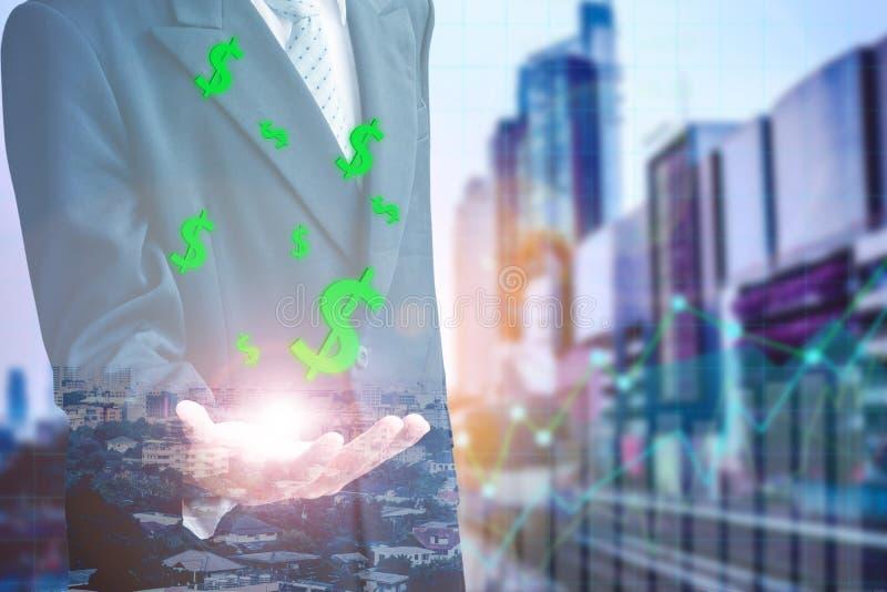 Zakenman Finance met Investeringsconcept stock afbeeldingen