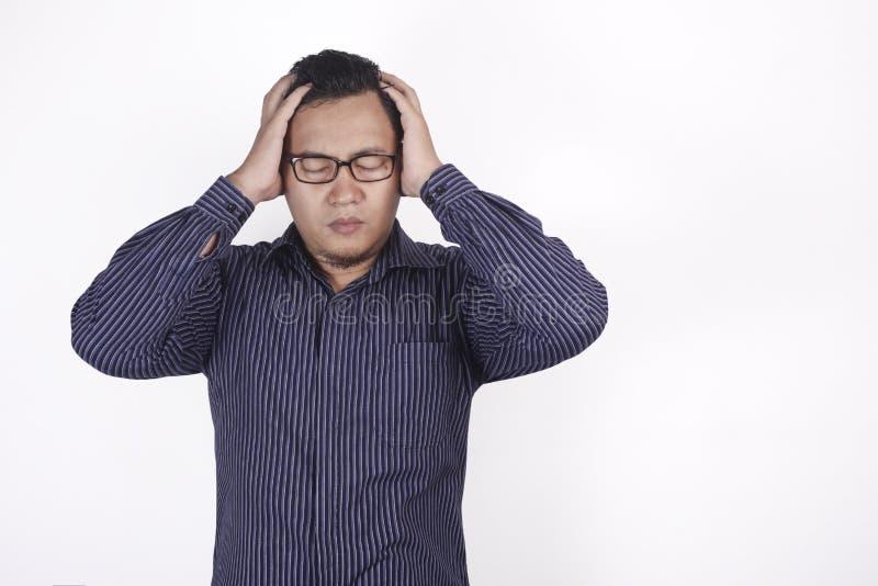 Zakenman Frustrated, hoofdpijn, spanning en duizelig gebaar stock foto