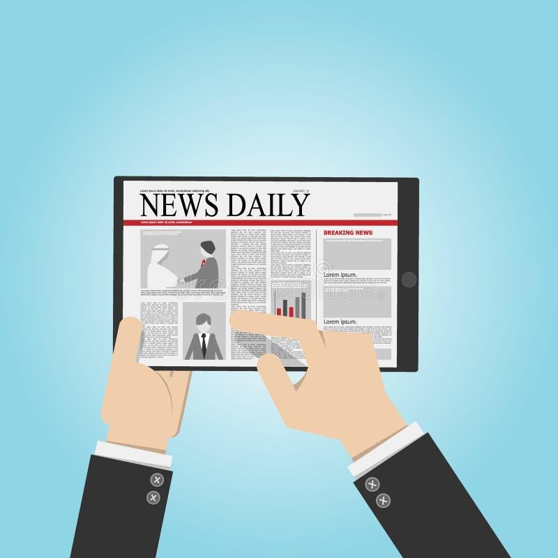 Zakenman gelezen nieuws dagelijks van tablet, het digitale concept van de lezingslevensstijl het elektronische boek vervangt druk vector illustratie