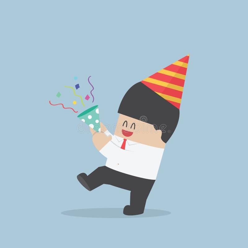 Zakenman gelukkig in vieringspartij stock illustratie