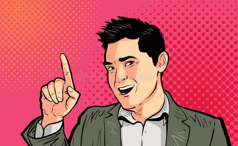 Zakenman of grappige kerel die retro vingerpop-art richten De vectorillustratie van het beeldverhaal vector illustratie