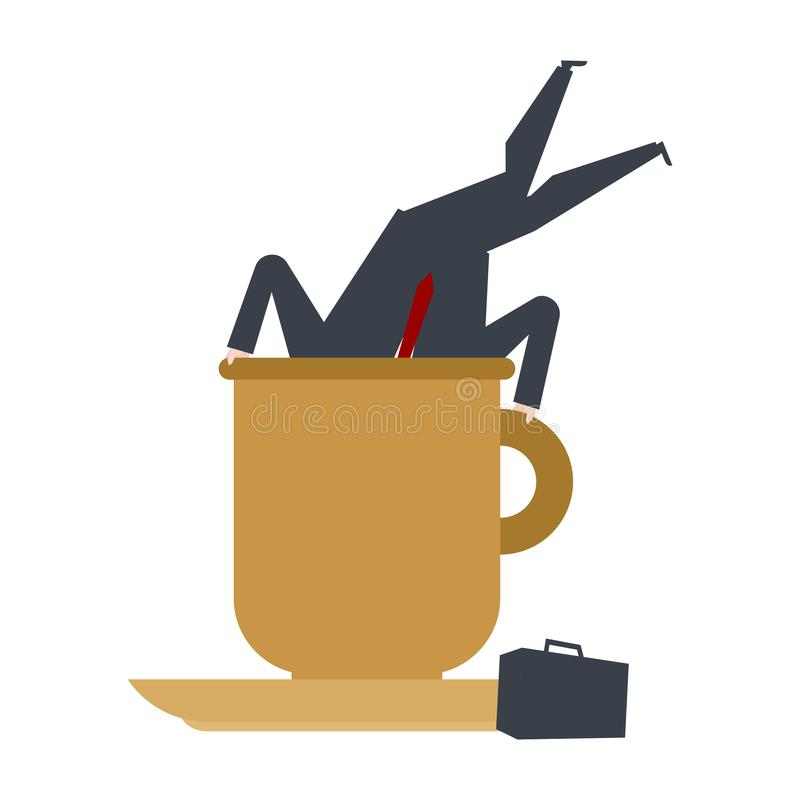 Zakenman in grote koffiemok Chef- Dive-koffie het bureauleven vec vector illustratie