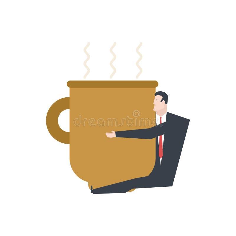 Zakenman in grote koffiemok Chef- omhelzingskoffie het bureauleven vect vector illustratie