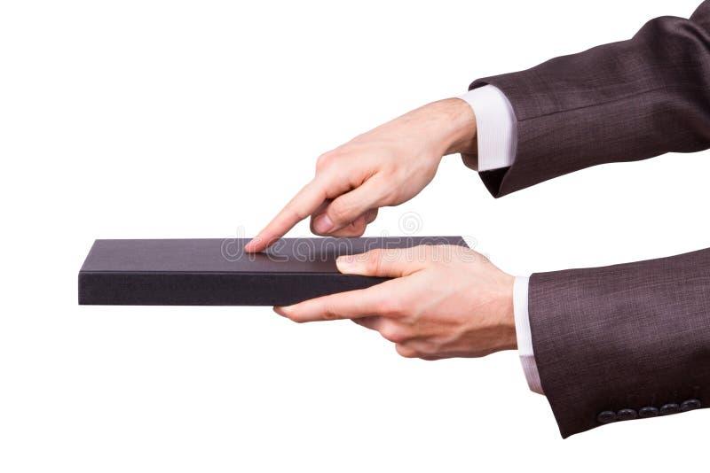 Zakenman Hand Touching Book als Tablet stock foto