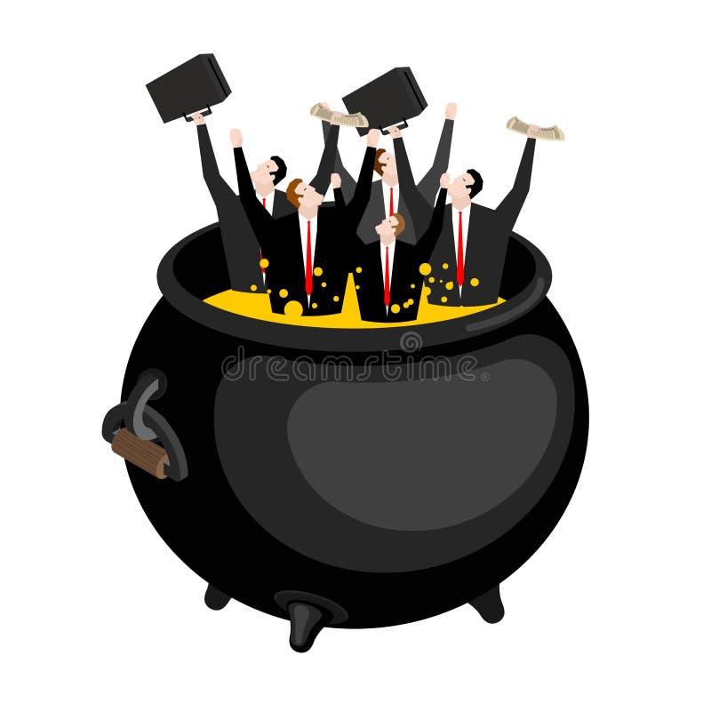 Zakenman in helse ketel De werkgever is in hel Hete olie in boi stock illustratie