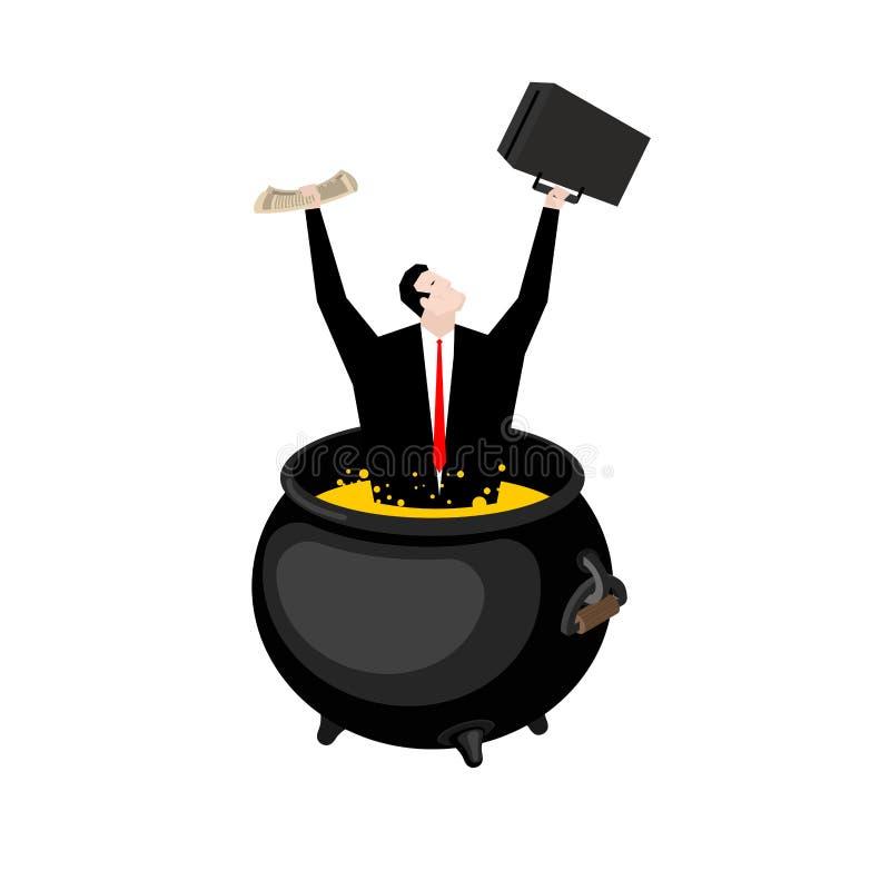 Zakenman in helse ketel De werkgever is in hel Hete olie in boi royalty-vrije illustratie