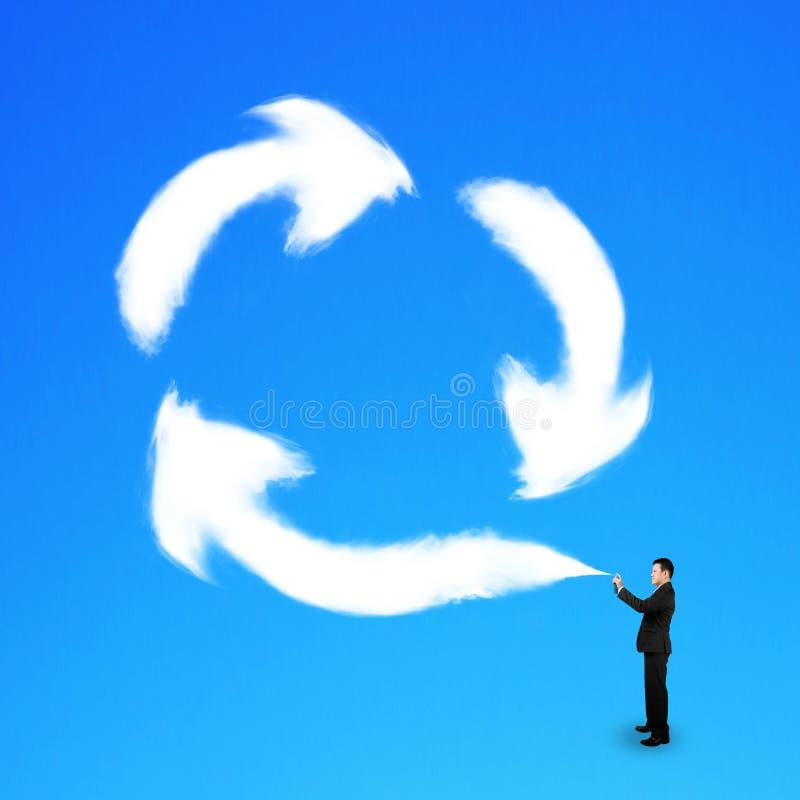 Zakenman het bespuiten uit betrekt recyclingssymbool stock fotografie